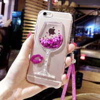 Wine Cup Cover + 3D Bling Glitter Quicksand Sand Phone Case For iPhone 6 / 6S / 6 Plus / 7 Plus