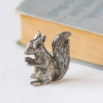 Very small squirrel figurine Grey metal squirrel miniature Squirrel snacking cone figurine Europe made Micro home decor gift nature lover