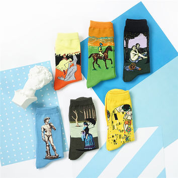 Famous Oil Painting Unisex Cotton Socks