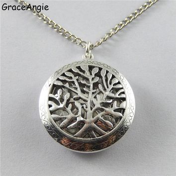 GraceAngie Top Long Chain Necklace Silver Round Hollow Pattern Wish Box Pad Perfume Essential Oil Aromatherapy Diffuser Locket