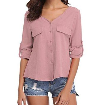 Anderlay Women Casual Button Down Shirt Long Sleeve Rollup Sleeve Chiffon V Neck Blouse ??????SXXL