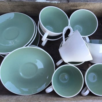 Vintage Harker pottery Ivy Wreath green cups & saucers, green / white tableware, mid century Harkerware atomic dishes 60s kitchen dinnerware
