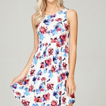 Simple Spring Tank Style Dress - Ivory Floral