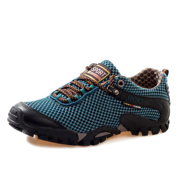 Men Waterproof Lace Up Toe Protecting Anti Skip Mesh Breathable Hiking Outdoor Shoes