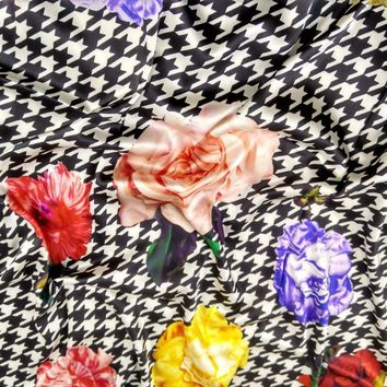 Fashion tissu patchwork houndstooth Woven satin silk Fabric Heavy Material For Cloths Blouse Dress flowers Prints Fabric Textile
