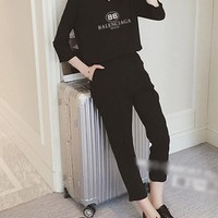 """""""Burberry"""" Women's Leisure  Fashion Letter Printing Long Sleeve Cropped Trousers Couple Two-Piece Casual Wear"""