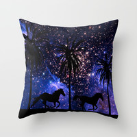 Galloping horses under starry sky Throw Pillow by Laureenr