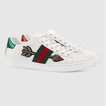 Gucci New Trending Women Men Embroidery Stylish Water Drill Arrow Pattern Sneakers Sport Shoes I13144-144