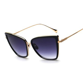 Square Cat Eye Sunglasses with Metal Frame