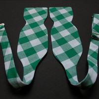 Bow Tie for Men by BartekDesign: self tie green white wedding grooms informal formal necktie gingham checked check