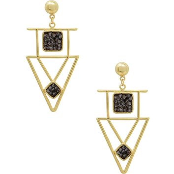 SONNY CZ PENDANT EARRINGS IN GOLD