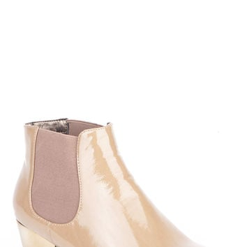 Patent Chelsea Boot with Heel Detail-Coffee-UK 6 - EU 39