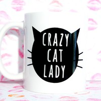 CRAZY CAT LADY Cat Face Coffee Mug