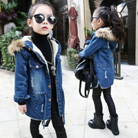 Winter Kids Girls Denim Jacket Children Plus Thick Velvet Jacket Outerwear & Coats [9302853386]