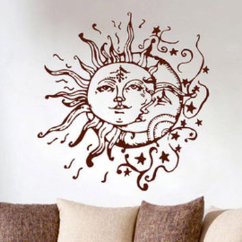 Sun and Moon and Stars Wall Decal Bohemian Bedroom Decor - Sun and Moon Vinyl Decal Psychedelic Sticker Yin Yang Decor, Boho Wall Decor K210