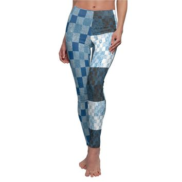 Blue Checker Duo Print Leggings