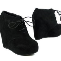 Lace up Platform Wedge Bootie (8, black)