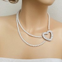 Bridal Rhinestone Heart Pearl Necklace, Swarovski White Pearl Necklace, Sweetheart Pearl Wedding Necklace