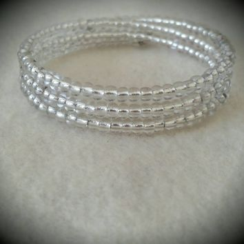 Crystal Silver Line Seed Bead Memory Wire Bracelet