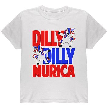 4th of July Dilly Dilly Murica Dabbing Unicorn Youth T Shirt