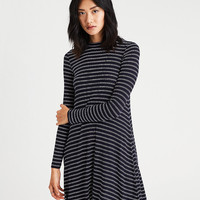 AE Lace-Up-Back Mock Neck Dress, Navy