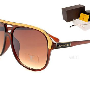 LV Mirrored Flat Lenses Street Fashion Metal Frame Women Sunglasses [2974244709]