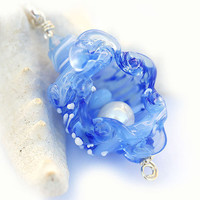 OOAK Holiday jewelry gift Snow blue Shell Pendant