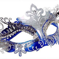 Metal Masquerade Mask with Rhinestones - Royal Blue Masquerade Ball Masks