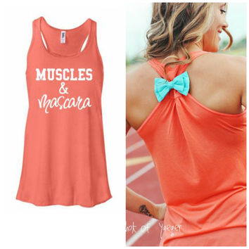 Muscles and Mascara Tank Top, Bow Tank Top,  Workout Tank, Exercise Shirt, Gym Tank