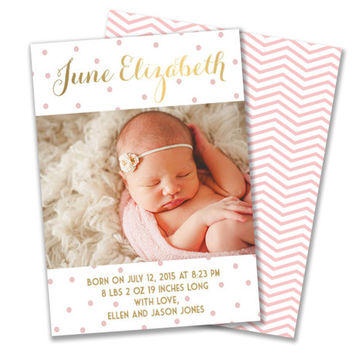 Baby Girl Pink and Gold Polka Dot Modern Photo Custom Birth Announcement