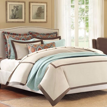 Hampton Hill FB10-887 Plume Tan Four Piece Twin Comforter Set