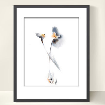 Minimalist Flowers Painting Art Print, Watercolor Art, Grey, Floral, Modern Abstract Art