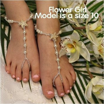 STARFISH pearl flower girl gold barefoot sandals