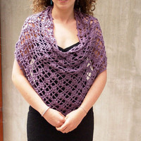 Hand crocheted Lace Poncho Grape Capelet Shrug