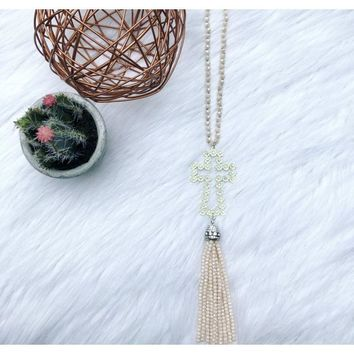 Rhinestoned Floral White Cross Dusty Pink Beaded Tassel Necklace