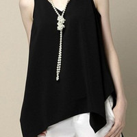 Black V-Neckline Asymmetrical Tank Top