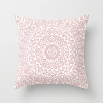 Light Rose Gold Mandala Minimal Minimalistic Throw Pillow by AEJ Design