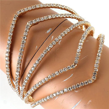 "8"" crystal bangle cuff bracelet bridal prom 2.10"" wide"