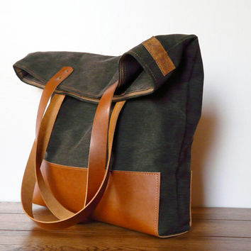 rustic tote bag leather canvas shopping bag modern everyday bag rust brown / worn black