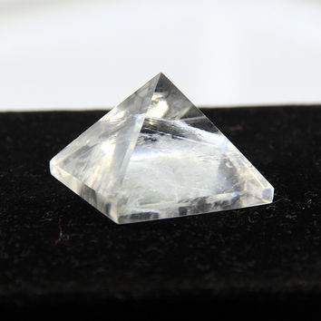 White crystal clear quartz rock Engraved 30mm Pyramid point pillar Carved Stone Chakra Stones Healing Reiki Free shipping