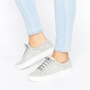 Vagabond Zoe Stone Grey Leather Trainers at asos.com