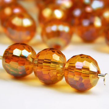 25 Pcs - 8mm Faceted Round Crystal Glass Beads - Orange AB - Crystal Beads - Spacer Beads - Jewelry Supplies