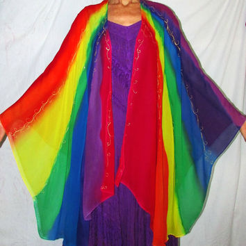 silk cape, Rainbow Goddess cape, rainbow cape, silk ruana, cover up, silk jacket, goddess wear, resort wear,rainbow sarong