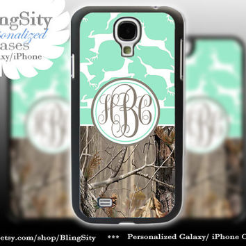 Monogram Galaxy S4 case S5 Real Tree Camo Deer Mint  Personalized RealTree Samsung Galaxy S3 Case Note 2 3 Cover