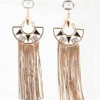 Exotic Acquisition Cutout Chained Fringe Drop Earrings - Gold