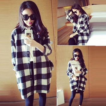 Women Casual Loose Blouse Plaid Cardigans Long Sleeve Button Down Shirts Tops = 1919965956