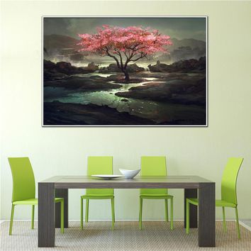 Wall Art Abstract oil Painting Stone Island Red Tree Landscape Posters and Prints Canvas Pictures for Living Room Home Decor