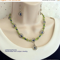 Peridot Chip necklace and Earring set, Gift for her, Gemstone necklace,  Healing necklace, Celtic necklace, Beaded necklace
