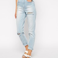 ASOS Farleigh High Waist Slim Mom Jeans In Karma Wash Blue With Thigh