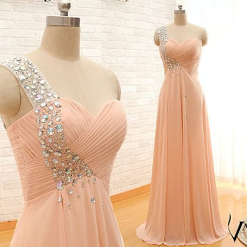 Custom Made One Shoulder Crystal Prom Dress 2015 Arrival Sweetheart One Shoulder A Lone Long Chiffon Crystal Prom Dresses